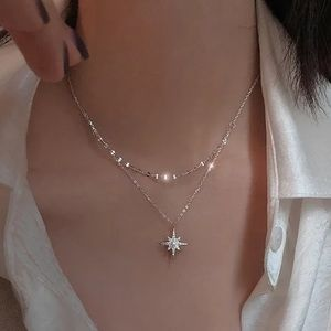 NEW 925 STERLING SILVER MOON DOUBLE LAYER NECKLACE